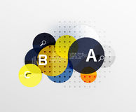 Vector circle bubbles modern geometric background. With option letter design. Vector template background for workflow layout, diagram, number options or web Stock Photography