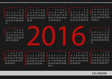 Vector circle calendar 2016. Week starts from Sunday.  royalty free illustration