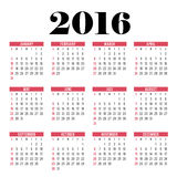 Vector circle calendar 2016. Week starts from Sunday. Vector circle calendar 2016. Week starts from Sunday Design Royalty Free Illustration