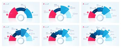 Vector circle chart designs, templates for creating infographics. Presentations, reports, visualizations 3 4 5 6 7 8 options stock illustration