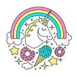 Vector circle composition with unicorn, rainbow, clouds, stars, ice cream, donuts. Cartoon style character. Vector circle composition with unicorn, rainbow Royalty Free Stock Photos