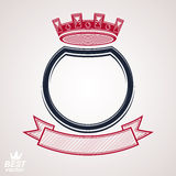 Vector circle with 3d decorative royal crown and festive ribbon,. Luxury coat of arms. Heraldic coronet symbol, best for graphic and web design Royalty Free Stock Photography