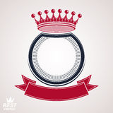 Vector circle with 3d decorative royal crown and festive ribbon Royalty Free Stock Images