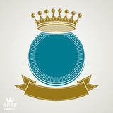Vector circle with 3d decorative royal crown and festive ribbon, Stock Photo