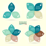 Vector circle eco infographic. Ecology template for diagram, graph, presentation and chart. Environmental care concept with 3, 4, 5, 6, 7 and 8 options, parts Stock Images