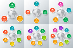 Vector circle element with earth for infographic. Royalty Free Stock Image
