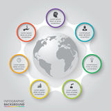 Vector circle elements with earth for infographic. Royalty Free Stock Photography