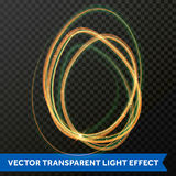 Vector circle light effect of line gold swirl. Glowing light fire flare trace. Vector circle fire light effect of line gold swirl. Glitter magic sparkle swirl Royalty Free Stock Image