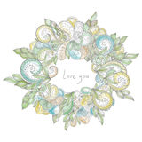 Vector circle floral frame. Royalty Free Stock Photography