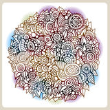 Vector circle flowers composition. Vintage background illustration Stock Images