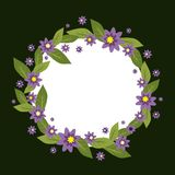 Vector circle frame made of flowers. Spring and summer collection. Vector Invitation template. Vector flower wreath on a. Vector circle frame made of flowers Stock Images