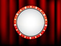 Vector circle frame of retro light boxes in an empty theater for inserting your text stock illustration