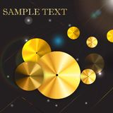 Vector circle gold icon metal background. Eps10. Vector circle gold icon metal background. Eps 10.Gold Disc.Abstract, flyuminy Stock Photos