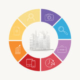 Vector circle house concepts with icons infographics Royalty Free Stock Images