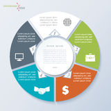 Vector circle infographic for business project or presentation. Vector circle template infographic for business project or presentation with five segments can be Royalty Free Illustration