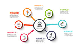 Vector circle infographic. Vector circles with arrows for infographic. Template for diagram, graph, presentation and chart. Business concept with 6 options Stock Images