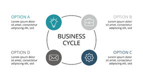 Vector circle infographic, cycle diagram, graph, presentation chart. Business concept with 3 options, parts, steps. Circle arrows diagram for graph infographic Stock Photography