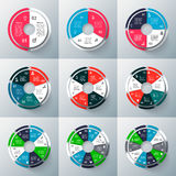 Vector circle infographic. Vector circle infographics set. Template for cycle diagram, graph, presentation and round chart. Business concept with 2, 3, 4, 5, 6 Stock Photography