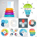 Vector circle infographic set. Business diagrams, arrows graphs, blur linear presentations, idea cycle charts. Data. Layout for your options or steps. Abstract Stock Photo