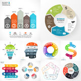 Vector circle infographic set. Business diagrams, arrows graphs, linear presentations, idea cycle charts. Data options. Layout for your options or steps Stock Photography