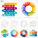 Vector circle infographic set. Business diagrams, arrows graphs, linear presentations, idea cycle charts. Data options. Layout for your options or steps Royalty Free Stock Photo