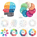 Vector circle infographic set. Business diagrams, arrows graphs, linear presentations, idea cycle charts. Data options. Layout for your options or steps Royalty Free Stock Photography
