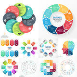 Vector circle infographic set. Business diagrams, arrows graphs, linear presentations, idea cycle charts. Data options. Layout for your options or steps Royalty Free Stock Image