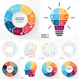 Vector circle infographic set. Business diagrams, arrows graphs, linear presentations, idea cycle charts. Data options. Layout for your options or steps Stock Photos