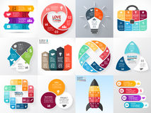 Vector circle infographic set. Business diagrams, arrows graphs, startup logo presentations, idea charts. Data options. Layout for your options or steps Stock Photos