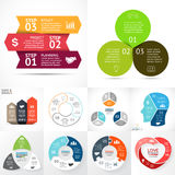 Vector circle infographic set. Business diagrams, arrows graphs, startup logo presentations, idea charts. Data options Stock Photos