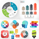 Vector circle infographic set. Business diagrams, arrows graphs, startup logo presentations, idea charts. Data options. Layout for your options or steps Stock Image