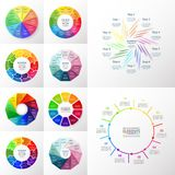 Vector circle infographic set. Business diagrams, round arrows graphs, puzzle presentations and charts. Data infographics with 10 options, parts, steps, cycle Royalty Free Stock Photos