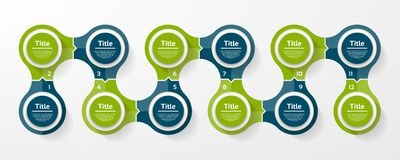 Vector circle infographic. Template for cycle diagram, graph, presentation and round chart. Business concept with 12 options, part. S, steps or processes stock illustration