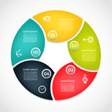 Vector circle infographic. Template for cycle diagram, graph. Presentation and round chart. Business concept with 5  options, parts, steps or processes Stock Photos