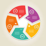 Vector circle infographic. Template for cycle diagram, graph, presentation and round chart. Business concept with 5  options, parts, steps or processes Stock Photography