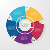Vector circle infographic template for graphs, charts, diagrams. Pie chart concept with 5 options, parts, steps, processes Royalty Free Stock Photos