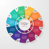 Vector circle infographic template for graphs, charts, diagrams. Pie chart concept with 11 options, parts, steps, processes Stock Photo