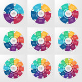 Vector circle infographic templates 4-12 options Royalty Free Stock Photos