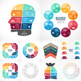 Vector circle infographics bundle. Business diagrams, arrows graphs. Layout for your options or steps. Abstract template for background Stock Photo