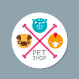Vector circle label with pets. Stock Images