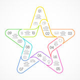 Vector circle linear color star symbol infographic. Template for cycle diagram, graph, favourite presentation, celebrity. Layout for your options or steps Stock Photography