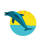 Vector circle logo with dolphin Stock Photos