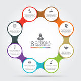 Vector circle metaball infographic. Template for cycle diagram, graph, presentation and round chart. Business concept with 8 options, parts, steps or processes royalty free illustration