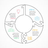 Vector circle numbers linear infographic, cycle diagram, graph, presentation chart. Business concept with 4 options Stock Photo