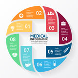 Vector circle plus sign infographic. Template for diagram, graph, presentation and chart. Medical healthcare concept. Layout for your options. Can be used for Stock Image