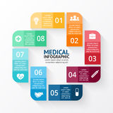 Vector circle plus sign infographic. Template for diagram, graph, presentation and chart. Medical healthcare concept Royalty Free Stock Images