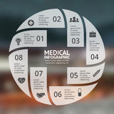Vector circle plus sign infographic. Template for diagram, graph, presentation and chart. Medical healthcare concept. Layout for your options. Can be used for Royalty Free Stock Images
