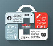 Vector circle plus sign infographic. Template for diagram, graph, presentation, chart. Medicine chest healthcare concept. Layout for your options. Can be used Royalty Free Stock Photos