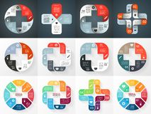 Vector circle plus sign infographics set. Template royalty free illustration