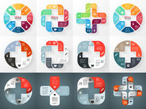 Vector circle plus sign infographics set. Template Stock Photography